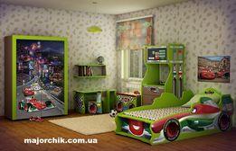 Детская комната Тачки кровать машина шкаф комод стол стул полка машинк