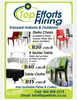 Chairs and tables up for Hiring