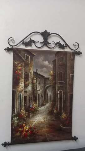 Original oilpainting of town in Italy