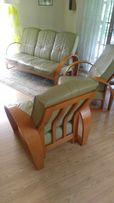 Kanapa i dwa fotele skóra drewno