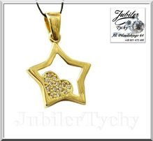 Złota gwiazda serduszko z cyrkoniami gwiazda serce złoto Jubiler Tychy