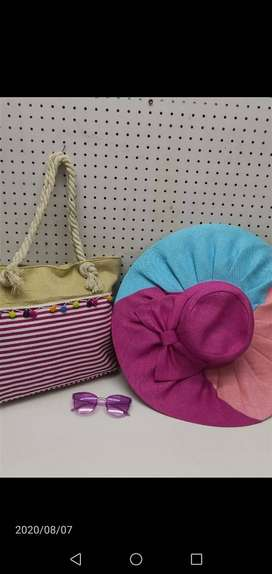 Summer Handbag with hat and sunglasses