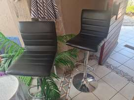 2 leather high rise chairs for sale