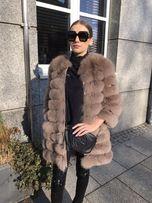 Płaszcz z lisa naturalny futro odpinane rękawy kamizelka kurtka
