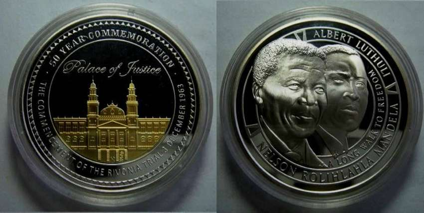 Mandela/Luthuli 50th Anniversary of the Rivonia Trial - 1oz Silver Med 0