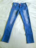 Spodnie jeans XS różowe elementy