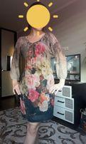 Платье осеннее шелк цветы