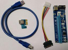 Райзер PCI-E Express 1x to 16x Riser Card. 60cm USB cable