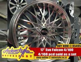 17inch Evo Falcon 4 100 / 8 pcd sold as a set of four R5495  Autostyle