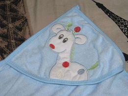 Полотенце-уголок для купания детей с рукавичкой, хлопок!