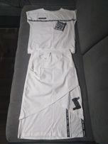Komplet zestaw spódnica midi bluzka biała sportowa dresowa S-M