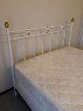 Antique double bed, base and mattress