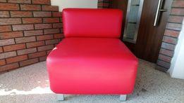 Rozkładany fotel czerwony ekoskóra