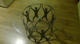 Stolik szklany podświetlany metaloplastyka kwietnik barek rzemiosło