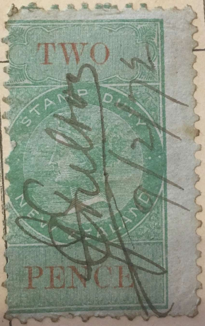 New Zealand 1880 two penny stamp duty revenue 0