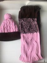 Вязанная розовая шапка +снуд
