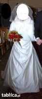 Suknia slubna ecru rozm 36 z rekawicami i welonem