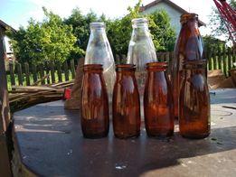 Butelki po mleku i śmietanie PRL