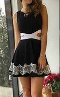 sukienka elegancka czarna z wycięciem w talii na ramiączkach nowa
