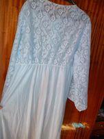 Небесно-голубая халат-ночная сорочка с кружевами