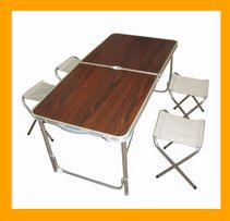 Раскладной стол для пикника усиленный. Стол чемодан со стульями 4 шт