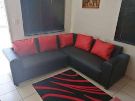 Leather look L shape couch