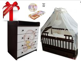 Полный набор: кроватка + постельное в кроватку + матрас В ПОДАРОК