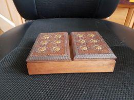 Drewniana szkatułka na biżuterię retro PRL