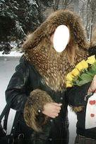 Натуральная кожа натуральный мех женское зимнее пальто р.М