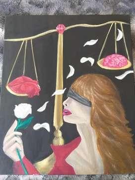 Oil painting of lady justice in two minds