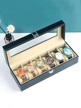 6 Compartment PU Leather Watch Display Box - Black