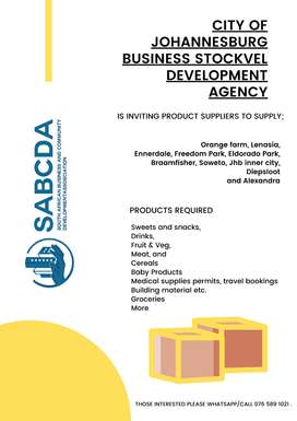 Business Opportunity Invitation of Product Service Providers in Joburg