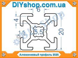 Алюминиевый профиль 2020 для ЧПУ (CNC) станка, 3Д (3D) принтера 20 20