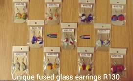 Earrings from fused glass