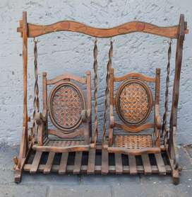 Rare Continental Wooden Doll's Swing