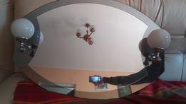 Lustro łazienkowe wraz z kinkietem