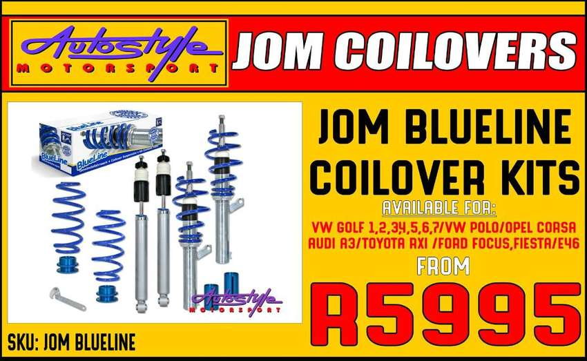Jom Blueline Coilovers available for VW GOLF 1,2,3,4,5,6,7 and VW POLO 0
