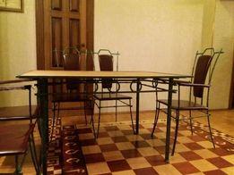 Кованный стол и 6 стульев