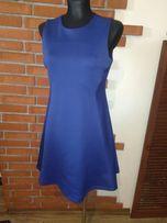 Sukienka granatowa kobaltowa lekko rozkloszowana jednolita