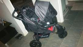 Pram with baby car chair