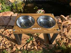Personalized Dog/Cat raised bowl stand