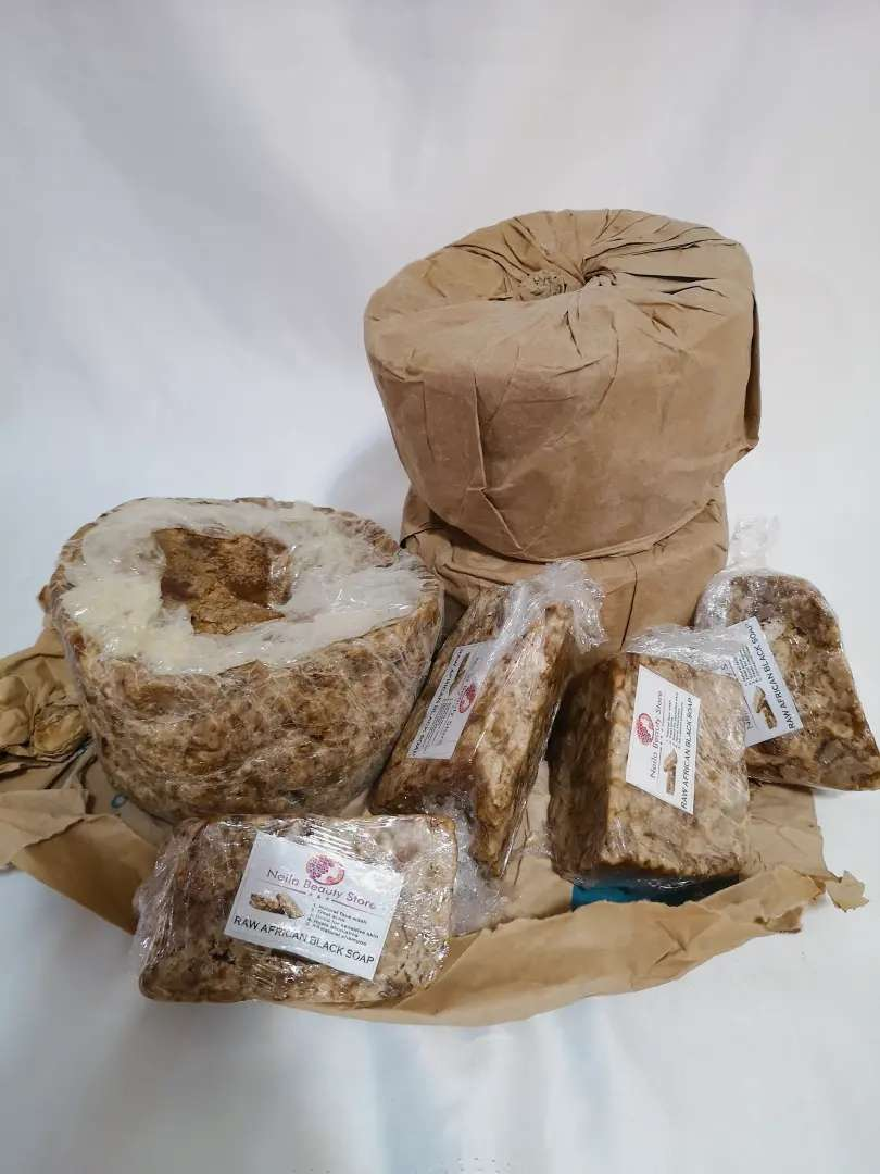 Raw African black soap.