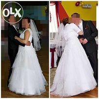 Przepiękna suknia ślubna, rozm. 44-46 z dodatkami.