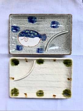 Puffer Fish and Green Spotted Sushi Plates