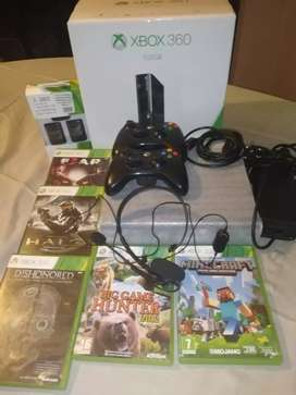 Xbox-360 with 5 games & 2 controllers and headphones