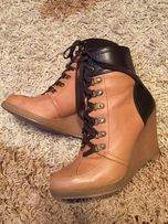Sneakersy brązowe botki na koturnie ZARA skóra naturalna 39 koturny