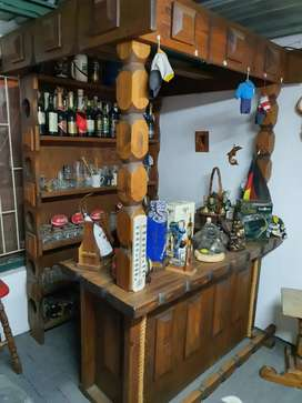Solid wood bar with glasses