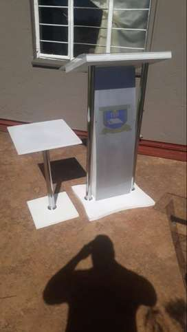 Customized Silver Podium+Side Table