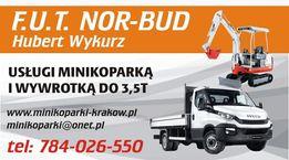 Minikoparka usługi wynajem Kraków Skawina wywrotka transport wiertnica