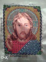 Вышивка церковных картин бисером.